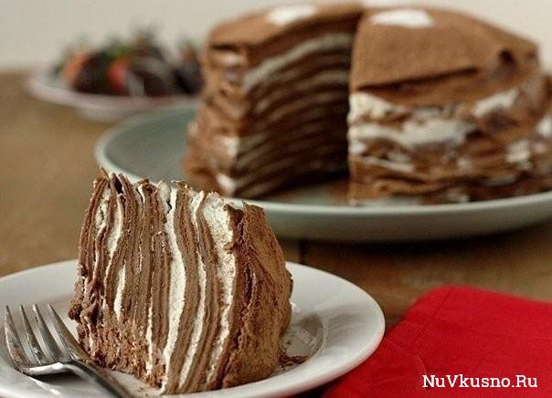 Блинный шоколадный торт на завтрак