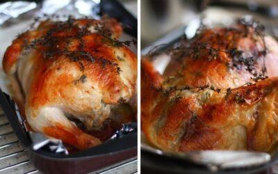 Курица с инъекциями белого вина и сливок