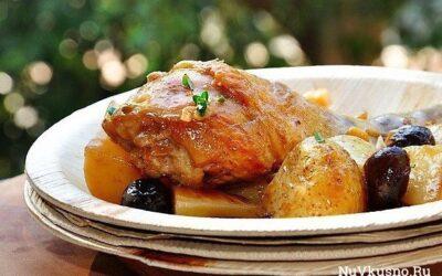 Курица в вине с оливками и молодой картошкой