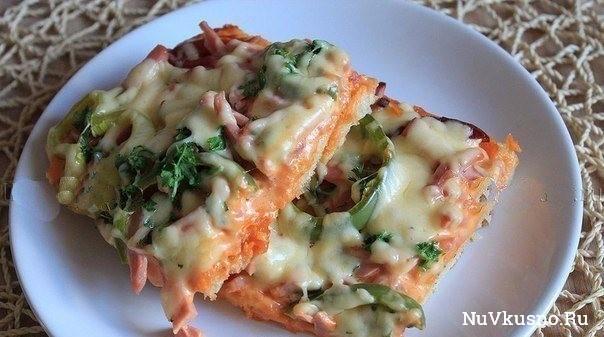 Ленивая пицца с колбасой