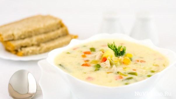 Овощной суп с курицей и сливками