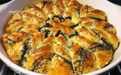 Пирог с маком «цветок» из творожно — дрожжевого теста