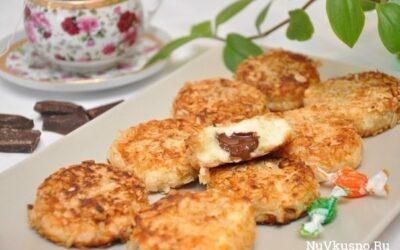 Сырники с шоколадной начинкой в панировке из овсяных хлопьев